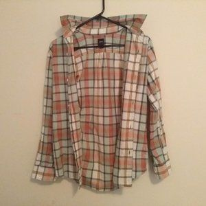 GapKids Light Green & Red Plaid Button Up Shirt